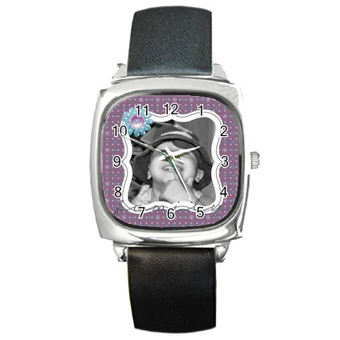 Purple Haze Watch 3 By Martha Meier   Square Metal Watch   Hocsdcxxrf9d   Www Artscow Com Front
