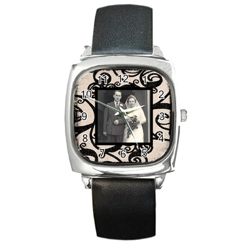Fantasic Classic Black Strap Wedding Watch By Catvinnat   Square Metal Watch   68afykm4j05e   Www Artscow Com Front