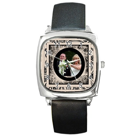 Fantasic Classic Black Strap Wedding Watch 2 By Catvinnat   Square Metal Watch   Iphqq25d8y11   Www Artscow Com Front