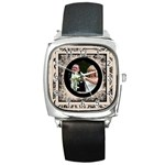 Fantasic classic black strap wedding watch 2 - Square Metal Watch