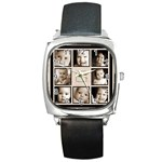 Fantasia grandchildren  multi picture black strap  watch  - Square Metal Watch