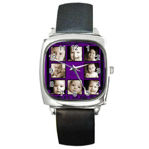 Fantasia Funky Purple  Multi Picture Black Strap  Watch  By Catvinnat   Square Metal Watch   Udwj68i08b8f   Www Artscow Com Front