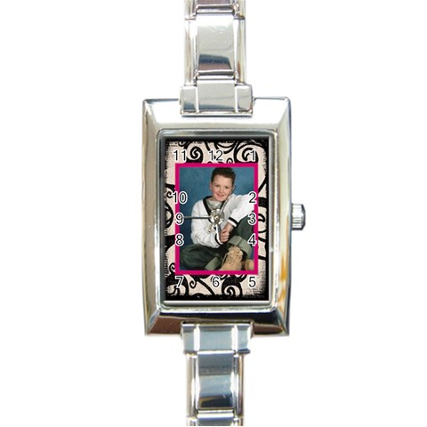 Fantasia Classic Pink Frame Rectangle Charm Watch By Catvinnat   Rectangle Italian Charm Watch   Jsoe5le1jwhk   Www Artscow Com Front