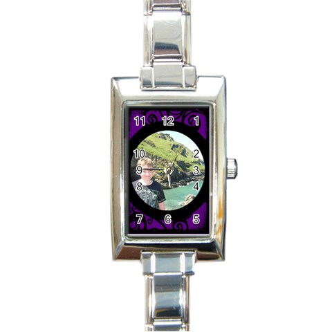 Fantasia Classic Purple Rectangle Charm Watch By Catvinnat   Rectangle Italian Charm Watch   4e9b5xtgdigd   Www Artscow Com Front