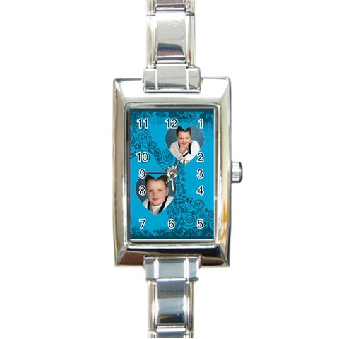 Fantasia Turquoise Twin Hearts Rectangle Charm Watch By Catvinnat   Rectangle Italian Charm Watch   Ibu3v40eb5pk   Www Artscow Com Front