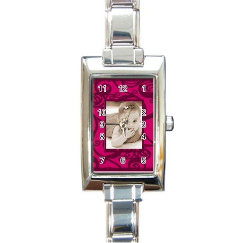 Fantasia Pinks Rectangle Charm Watch By Catvinnat   Rectangle Italian Charm Watch   G8pdh155r8r0   Www Artscow Com Front