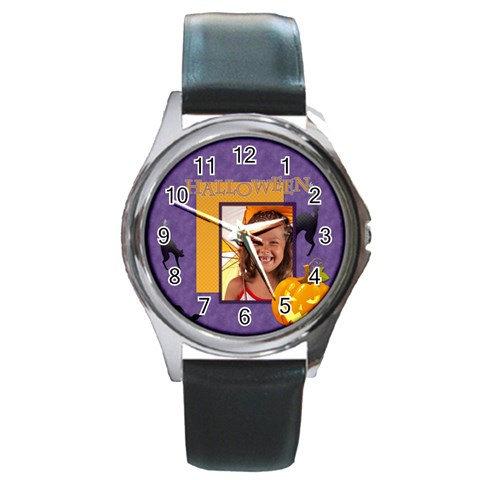 Halloween By Joely   Round Metal Watch   47aqb8cs1fv1   Www Artscow Com Front