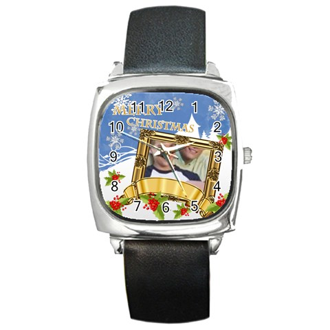 Xmas By Joely   Square Metal Watch   A7jsx840g98o   Www Artscow Com Front