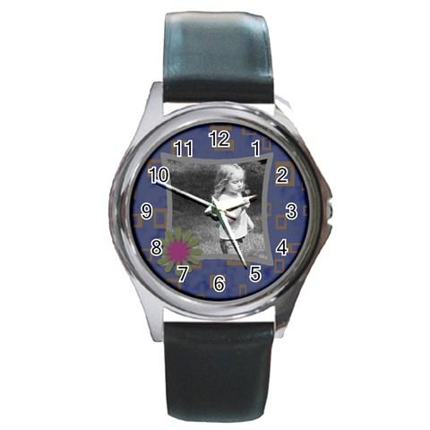 Blue Funky Watch By Amanda Bunn   Round Metal Watch   Pgt1bci7f0cz   Www Artscow Com Front
