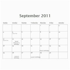 Calandar By Harker   Wall Calendar 11  X 8 5  (12 Months)   1k485lofkjwe   Www Artscow Com Sep 2011