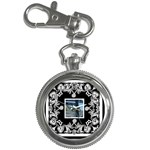 Art nouveau black & white keychain watch - Key Chain Watch