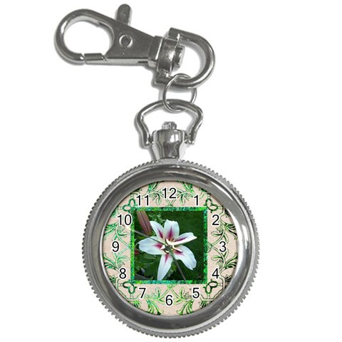 Art Nouveau Eden Lily Keychain Watch By Catvinnat   Key Chain Watch   Pljbkqvow6l7   Www Artscow Com Front
