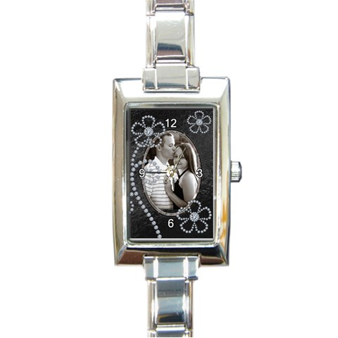 Black & Diamond Flower Charm Watch By Lil    Rectangle Italian Charm Watch   199doftqx2wj   Www Artscow Com Front