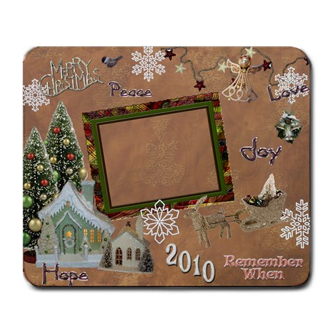 Merry Christmas Gold Village Remember When Large Mousepad By Ellan   Large Mousepad   Vzxdze6rpcoe   Www Artscow Com Front