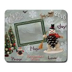 Merry Christmas snowman snowflake remember when large mousepad