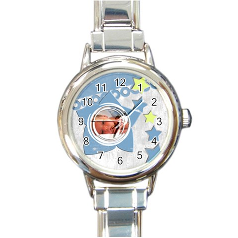 Baby Blue   Watch By Carmensita   Round Italian Charm Watch   Tzl0f4girsok   Www Artscow Com Front