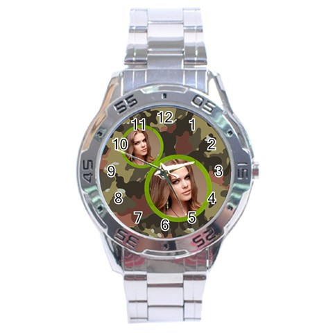 Stainless Analogue Army Fatigue A1 Twin Frame Camo Watch By Catvinnat   Stainless Steel Analogue Watch   B0ehmvnc8yjf   Www Artscow Com Front