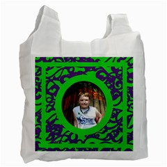 Fantasia Funky Purple And Green Recycle Bag By Catvinnat   Recycle Bag (two Side)   Nshk7mvminrd   Www Artscow Com Front