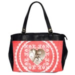 Lacy Heart red valentines oversized office bag 2 - Oversize Office Handbag (2 Sides)
