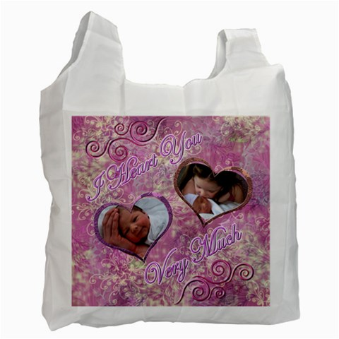I Heart You Pink Swirl Recycle Bag By Ellan   Recycle Bag (one Side)   Nml1q77zkdak   Www Artscow Com Front