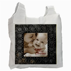 Silver Frame Baby s First Christmas  Recycle Bag By Catvinnat   Recycle Bag (two Side)   Bead1kpgdvfh   Www Artscow Com Front