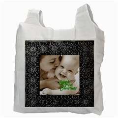 Silver Frame Baby s First Christmas  Recycle Bag By Catvinnat   Recycle Bag (two Side)   Bead1kpgdvfh   Www Artscow Com Back