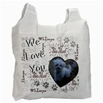 We Love You This Much paw Black White recycle bag - Recycle Bag (One Side)