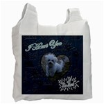 We Love You This Much paw blue White recycle bag - Recycle Bag (One Side)