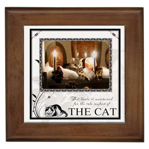 The Cat Framed Tile By Lil    Framed Tile   Z63mlgee3glu   Www Artscow Com Front