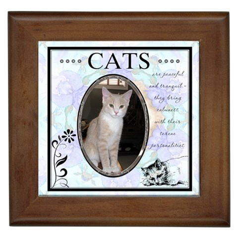 Cats Are Peaceful Framed Tile By Lil    Framed Tile   4hy85xnln8yj   Www Artscow Com Front