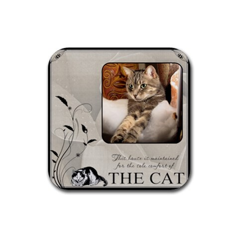 Cat Comfort Coaster By Lil    Rubber Coaster (square)   Hfi3jyhjut70   Www Artscow Com Front