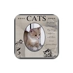 Cats are Peaceful Coaster - Rubber Coaster (Square)