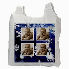Let It Snow Midnight Blue Recycle Bag By Catvinnat   Recycle Bag (two Side)   6spculy2iveg   Www Artscow Com Back
