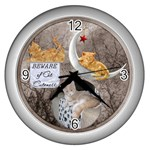 Cat Cuteness Wall Clock - Wall Clock (Silver)