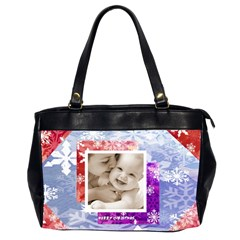 Merry Christmas Snowflakes Oversized Office Handbag By Catvinnat   Oversize Office Handbag (2 Sides)   E1rbqj9pqwz0   Www Artscow Com Front