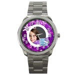 white christmas purple snowflake stainless steel watch - Sport Metal Watch