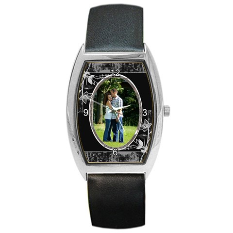 Black Flower Barrel Watch By Lil    Barrel Style Metal Watch   Frkfcsr9ga60   Www Artscow Com Front