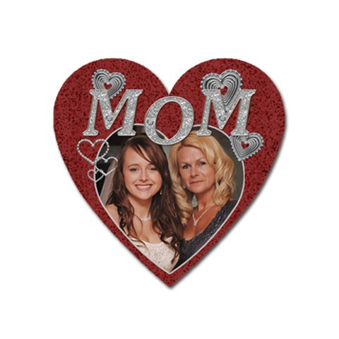 Diamond Mom Heart Magnet By Lil    Magnet (heart)   O663wav8dda2   Www Artscow Com Front