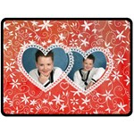 My floral valentine twin love hearts fleece blanket extra large - Fleece Blanket (Large)