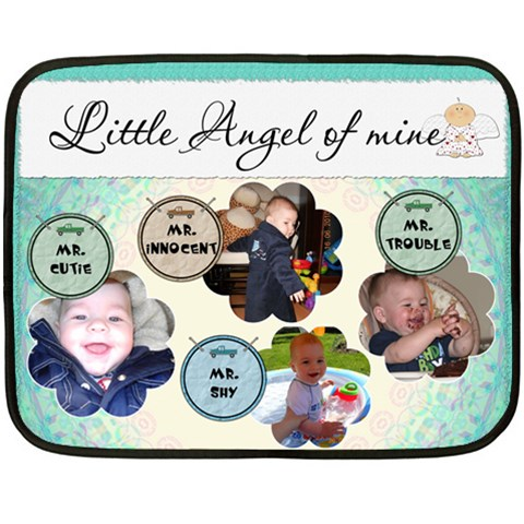 Little Angel Of Mine Boy Mini Fleece Blanket By Lil    Fleece Blanket (mini)   Lvoythpfli4b   Www Artscow Com 35 x27 Blanket