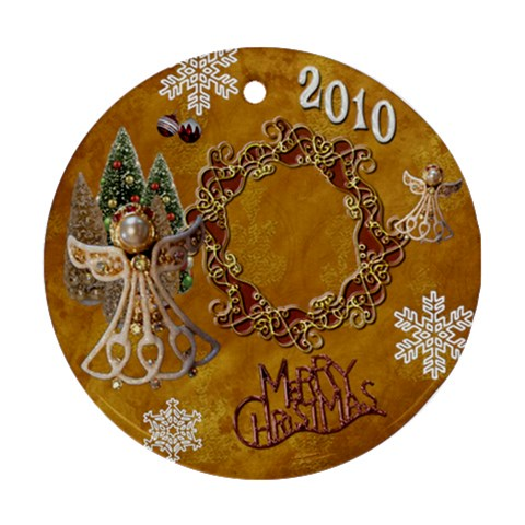 Angel Merry Chistmas Gold 2010 Ornament Round By Ellan   Ornament (round)   Txjjsnrt1dc0   Www Artscow Com Front