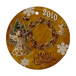 Angel Merry Chistmas gold 2010 ornament round - Ornament (Round)