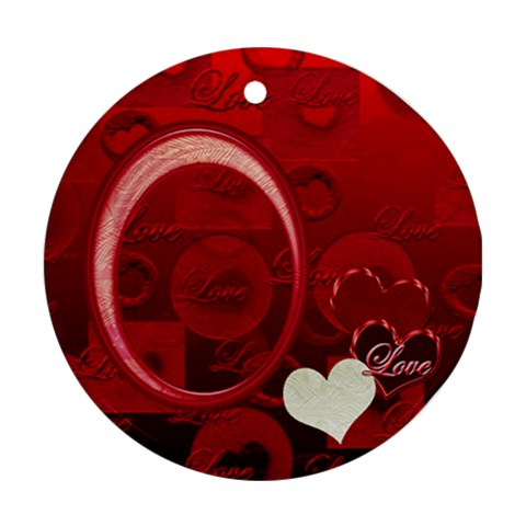 Love Heart Red Ornament Round By Ellan   Ornament (round)   Ij7ycmtalxmv   Www Artscow Com Front