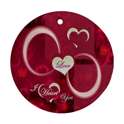 Love I Heart You Pink Ornament Round By Ellan   Ornament (round)   Agzvgejzmqz8   Www Artscow Com Front