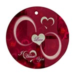 Love I Heart You pink ornament round - Ornament (Round)