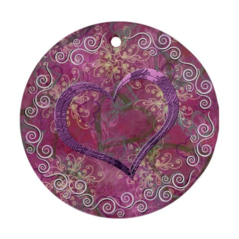 Love I Heart You Purple 3 Ornament Round By Ellan   Ornament (round)   Koa2w8bw1f2r   Www Artscow Com Front