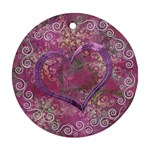 Love I Heart You purple 3 ornament round - Ornament (Round)