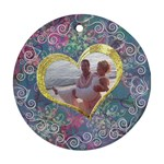Love I Heart You blue pink gold frame ornament round - Ornament (Round)
