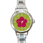 Pink & Green Round Italian Charm Watch