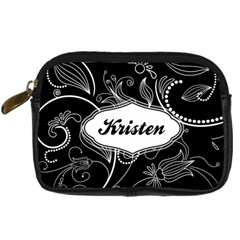 Black & White Swirls Digital Camera Leather Case By Klh   Digital Camera Leather Case   Nvzl3rdcsutl   Www Artscow Com Front